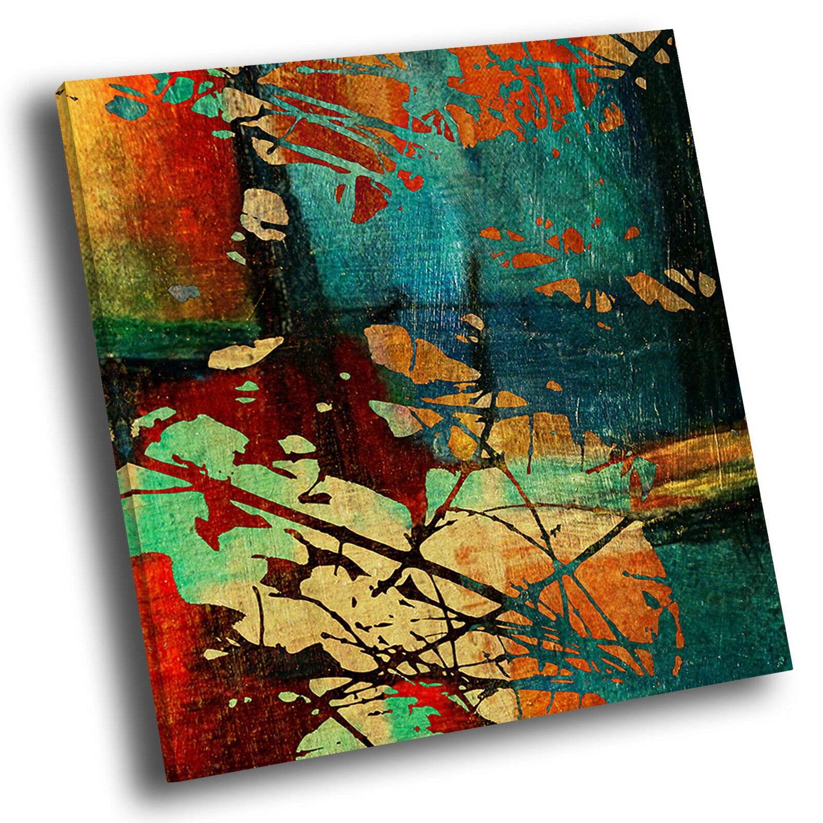 Grün Teal Blau rot Square Abstract Photo Canvas Wall Art Large Picture Prints
