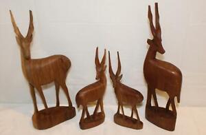 Vintage-Besmo-Hand-Carved-Wooden-Antelope-Gazelle-Set-Made-in-KENYA-1960-039-s