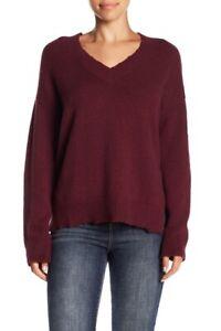 Melrose-and-Market-Destroyed-Detail-V-neck-Sweater-Burgundy-Fig-size-Small