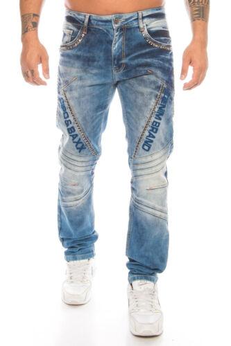 Cipo /& Baxx Jeans Herren Regular Slim Hose 590 Blau Label Naht Design Pants