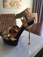 Kurt Geiger Gold Gladiator Heels, Size 3