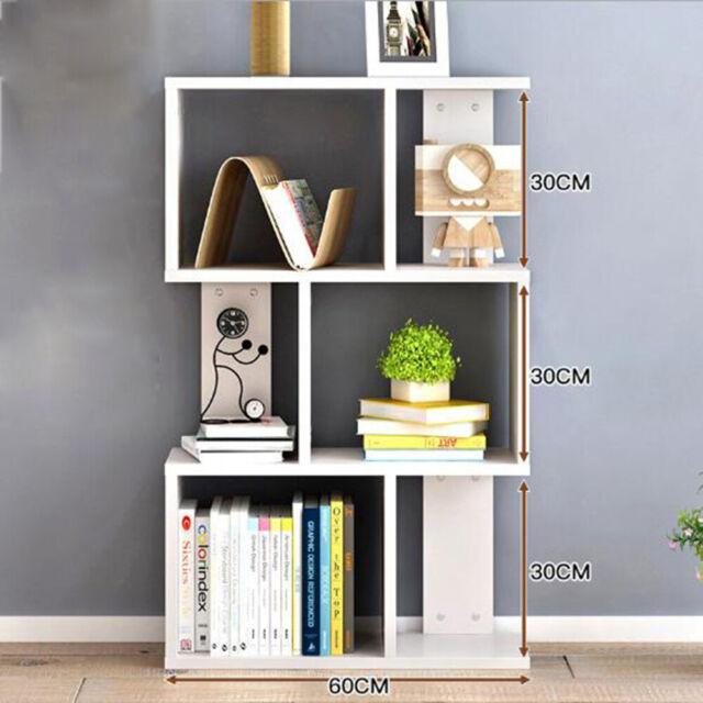 Storage Bookcase 3 Shelves Wood Bookshelf S Shape Display Unit Home Furniture UK