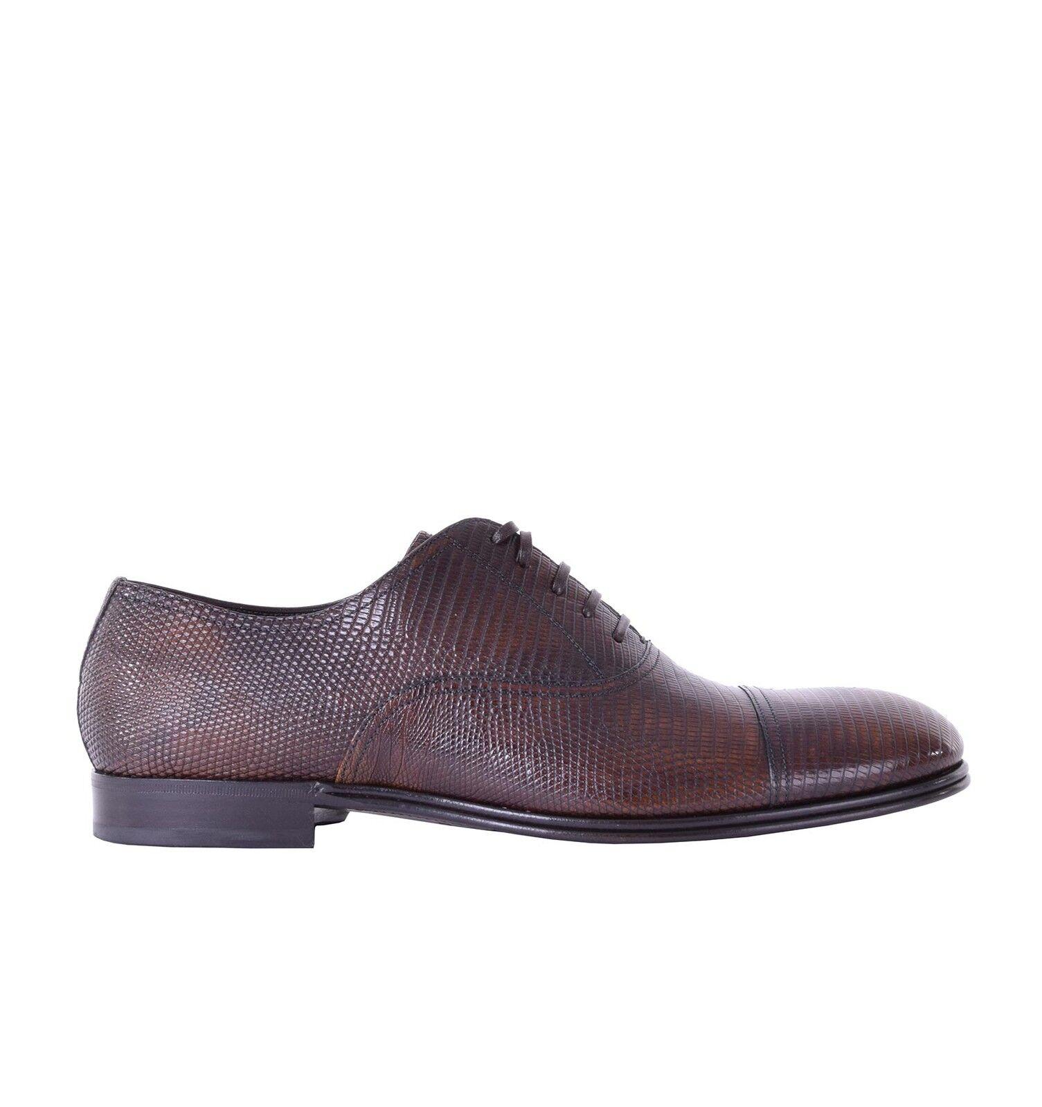 DOLCE Eidechse & GABBANA Glänzende Waran Eidechse DOLCE Oxford Schuhe Braun Schuhes 05389 c15795