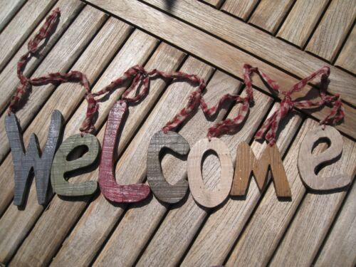 """Urige Shabby Girlande /""""WELCOME/"""" Willkommen Begrüßung Türdeko Fest Party rustikal"""