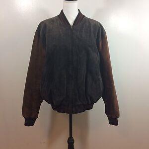 bb6b7d233fec Vintage American Outpost Mens L Suede Brown Orange Bomber Jacket Varsity