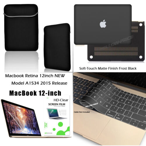 Black Rubberized Case+Keyboard+Film+Sleeve Bag for Macbook Retina 12-inch 2015