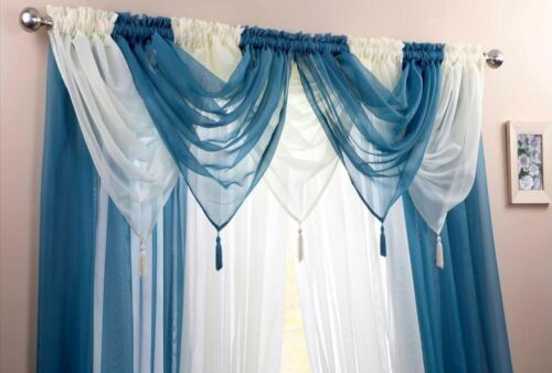 """EXQUISITE TEAL AND IVORY VOILE 5 SWAG AND 4 ROD POCKET 54/"""" CURTAINS SET"""