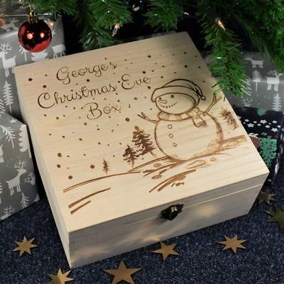 Personalised Printed Childrens Christmas Eve Wooden Box Snowman Scene