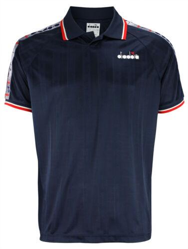 Blue Denim Diadora Men/'s Offside Buttonless Polo Shirt