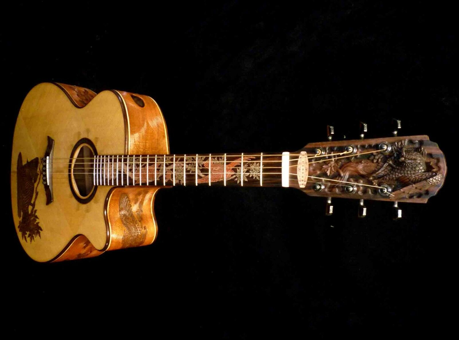 Blauberry Special Order Jumbo Owl Motif Acoustic Guitar 90 Day Delivery