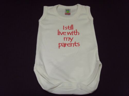 Funny Embroidered Personalised Vest Baby Shower Gift I still live with my parent