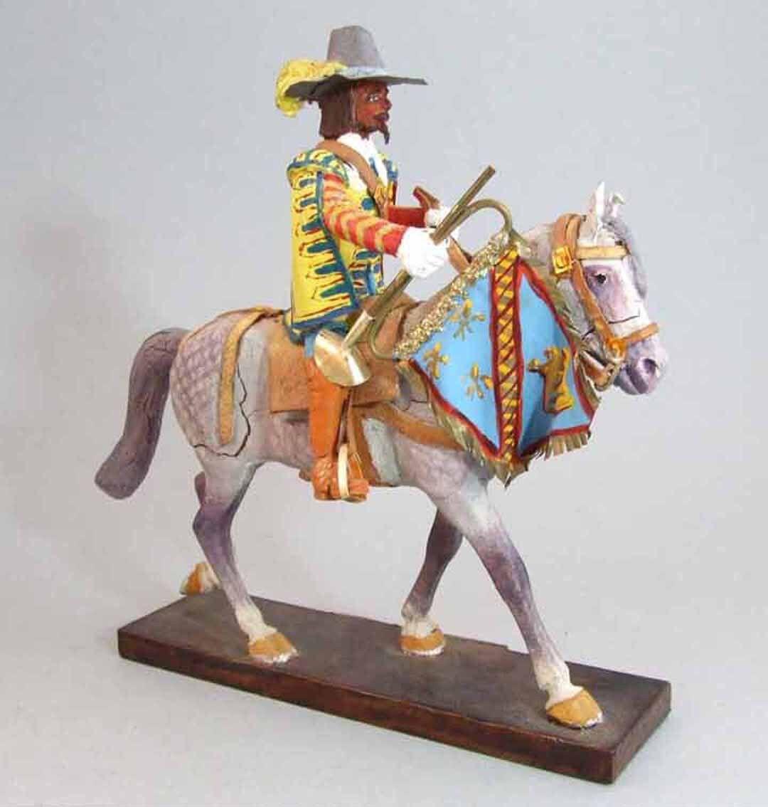LEMAITRE Figura UNA TROMPETA CABALLO 1627   soldado juguete antiguo