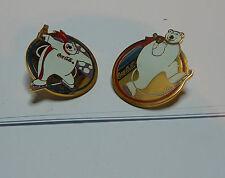 2x  Coca Cola Polar Bear Ice Skating /Winter Sports badges. set A