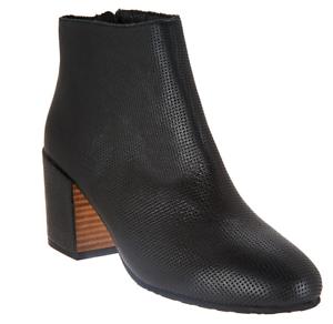 Gentle Souls Leather Block Heel Ankle Boots - Blaise 2 Black Women's 5.5 New