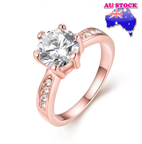 Ladies 18K Rose Gold Filled Zircon Crystal Wedding Engagement Czech Drill Ring