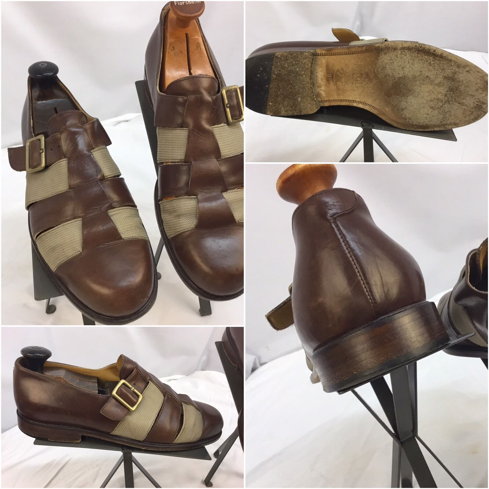 LM Brown Luciano Michielon Sandals Shoes 9.5 Brown LM Braided Worn 3x Made Italy YGI D7-2 87b299