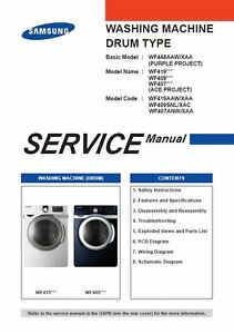 samsung wf419aaw wf409snl wf407anw washer service manual repair rh ebay com samsung washer installation guide samsung washer troubleshooting guide