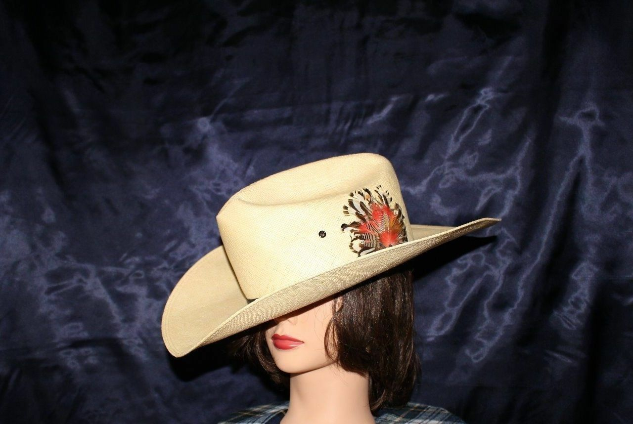 RESISTOL SELF-CONFORMING MADE IN TEXAS USA Men  Ivory with Feather Men USA Cowboy Hat 40d07f