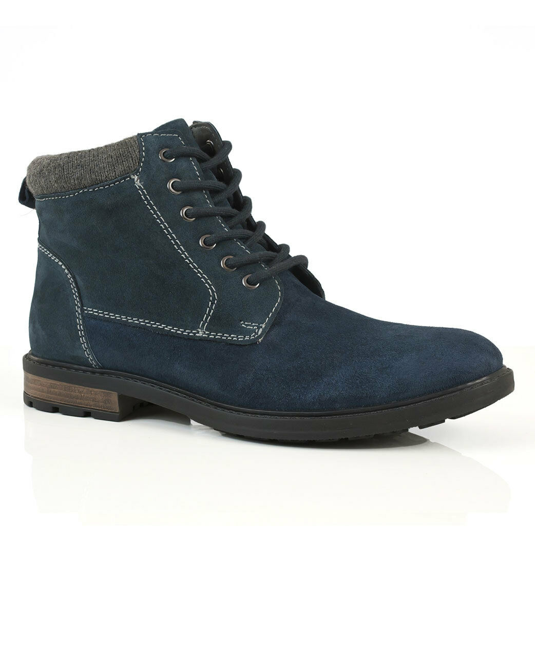 Solebay Sharrow Jeans bluee Suede Leather Lace Up Comfort Smart Casual Ankle Boot