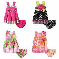 Bonnie Jean Infant Girls 12-24 Months Pink Summer Dress Diaper Cover Set