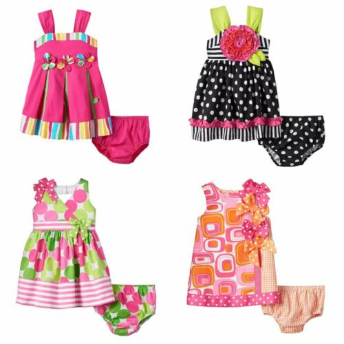 NWT Bonnie Jean Infant Girls 12-24 Months Pink Summer Dress Diaper Cover Set