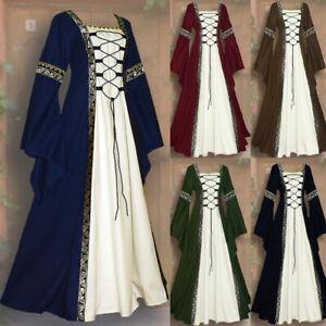 Medieval-Renaissance-Dress-Women-039-s-Vintage-Halloween-Gothic-Costume-Party-Dress