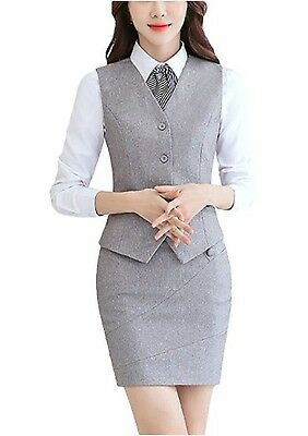 MFrannie Womens Office Fitted One Button Lined Blazer and Pants Suit Set Black 2packs M