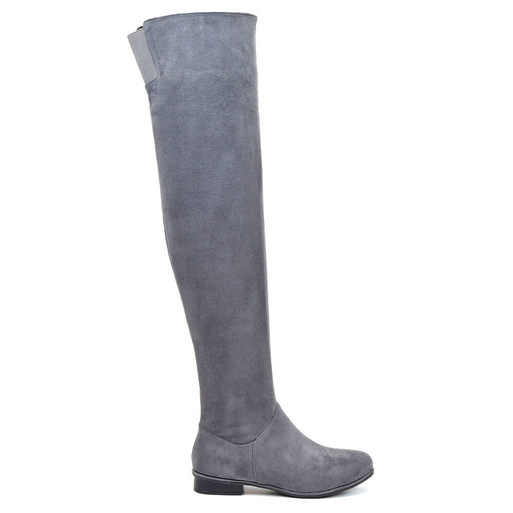 Womens Over The Long Knee High Flat Ladies Long The Faux Suede Thigh High Boots Size 3-8 5e76ea