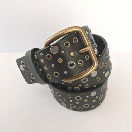 Steampunk Unisex Studded Belt Black Leather Gromme