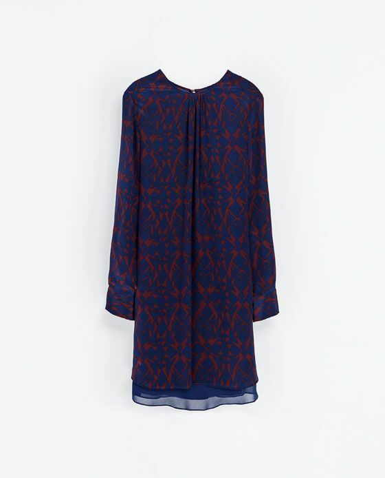 NWT ZARA print blouse dress Navy & Maroon (Größe M   MEX 28) Beautiful 100% Silk