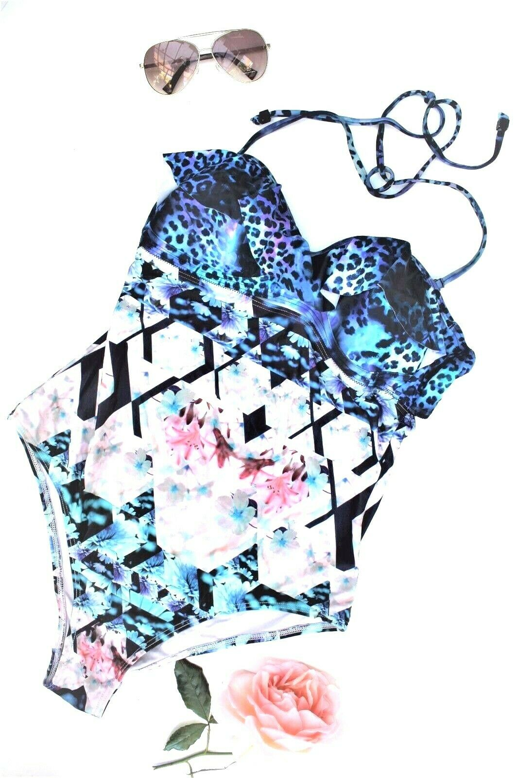 Talulah Prism Blumenmuster Push Geschnürt Badeanzug Neckholder Bademode XL 14 42