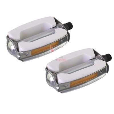 """New White Krate Bicycle Pedals 9//16/"""" Bow Style Bike Lowrider Beach Pedal Bike"""