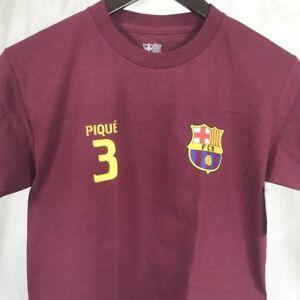 53e2365e63a FCB Pique Barcelona Spain Barca T-Shirt Youth Med Maroon Soccer ...