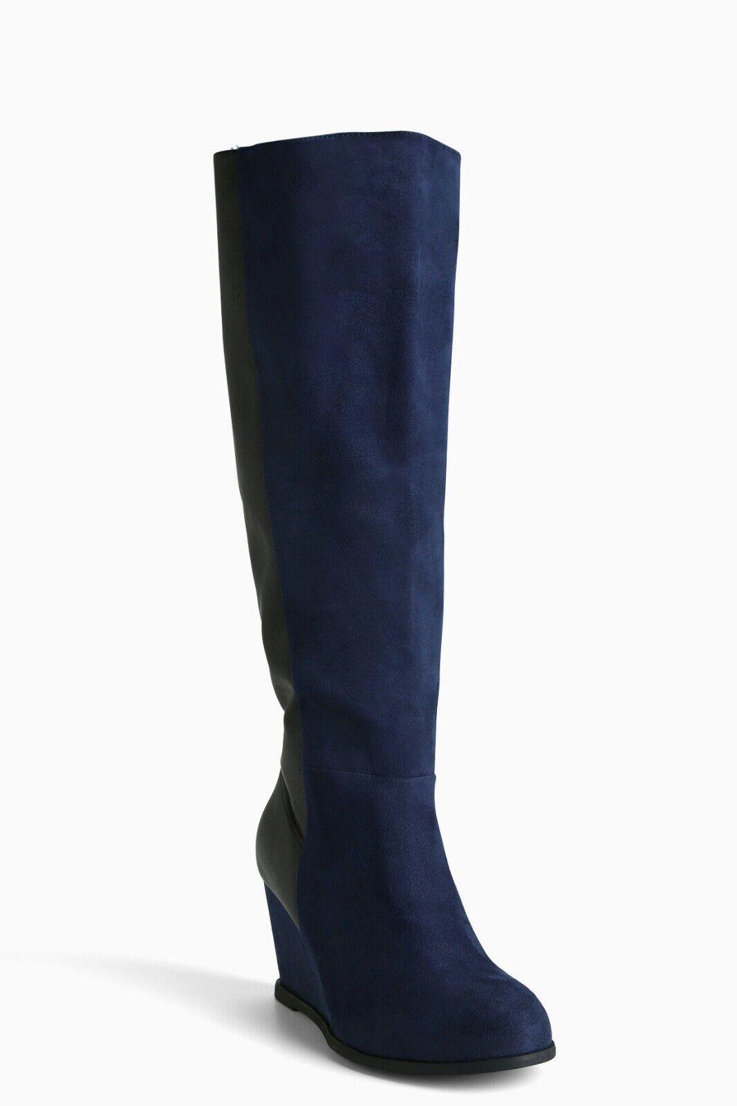 Torrid Faux Suede bluee Black Faux Leather Wedge Knee Knee Knee Boots 7.5 Wide Width Calf f1b9aa