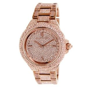 184cc6672c89 NEW MICHAEL KORS MK5862 CAMILLE ROSE GOLD PAVE CRYSTAL GLITZ WOMEN S ...