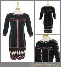 MONSOON BLACK AZTEC BOHO TRIBAL BEADED  WINTER WOOL JUMPER DRESS S SMALL 10_12