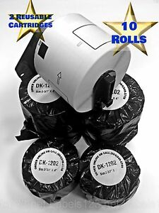 10 Rolls DK-2205 Brother Compatible Thermal Label Include 2 Reusable Cartridges