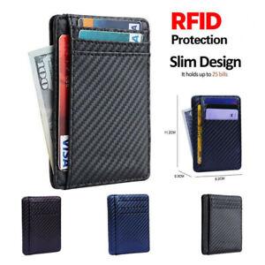 Slim-Kohlefaser-Card-Case-Holder-Pocket-minimalistische-Leder-Brieftasche-RFID