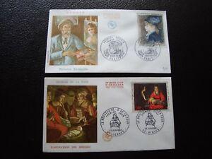 FRANCE-2-enveloppes-1er-jour-1966-1968-georges-de-la-tour-renoir-B12-french