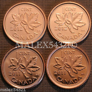 4 X Canadian 1 cent penny coin 2011 /& 2012 Canada From mint rolls