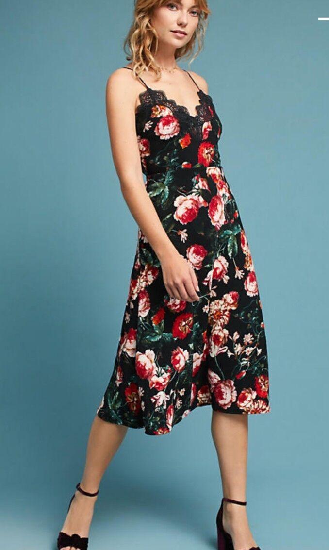 Anthropologie Foxiedox Autumnal Slip Floral Dress Sz S  NWT