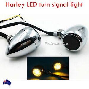 2x smoke motorcycle LED turn signal indicator light Harley chopper bobber chrome