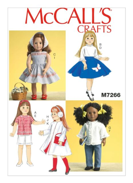 """McCall's SEWING PATTERN M7266 Retro Dolls Clothes For 18""""/46cm Dolls"""