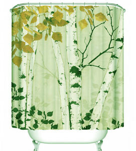 Image Is Loading Birch Tree Fall Leaves Fabric Shower Curtain Autumn