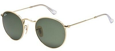 New Authentic Ray-Ban 'Rounds' Sunglasses Rb 3447 001 Size: 50mm Gold/Grey