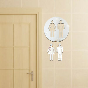 17cm Toilet Door Women Bathroom Wall Stickers Decals
