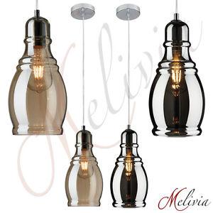 Luminaire-Suspendu-14cm-Verre-Ambre-Gris-Noir-Long-Lampe-Plafonnier-E27