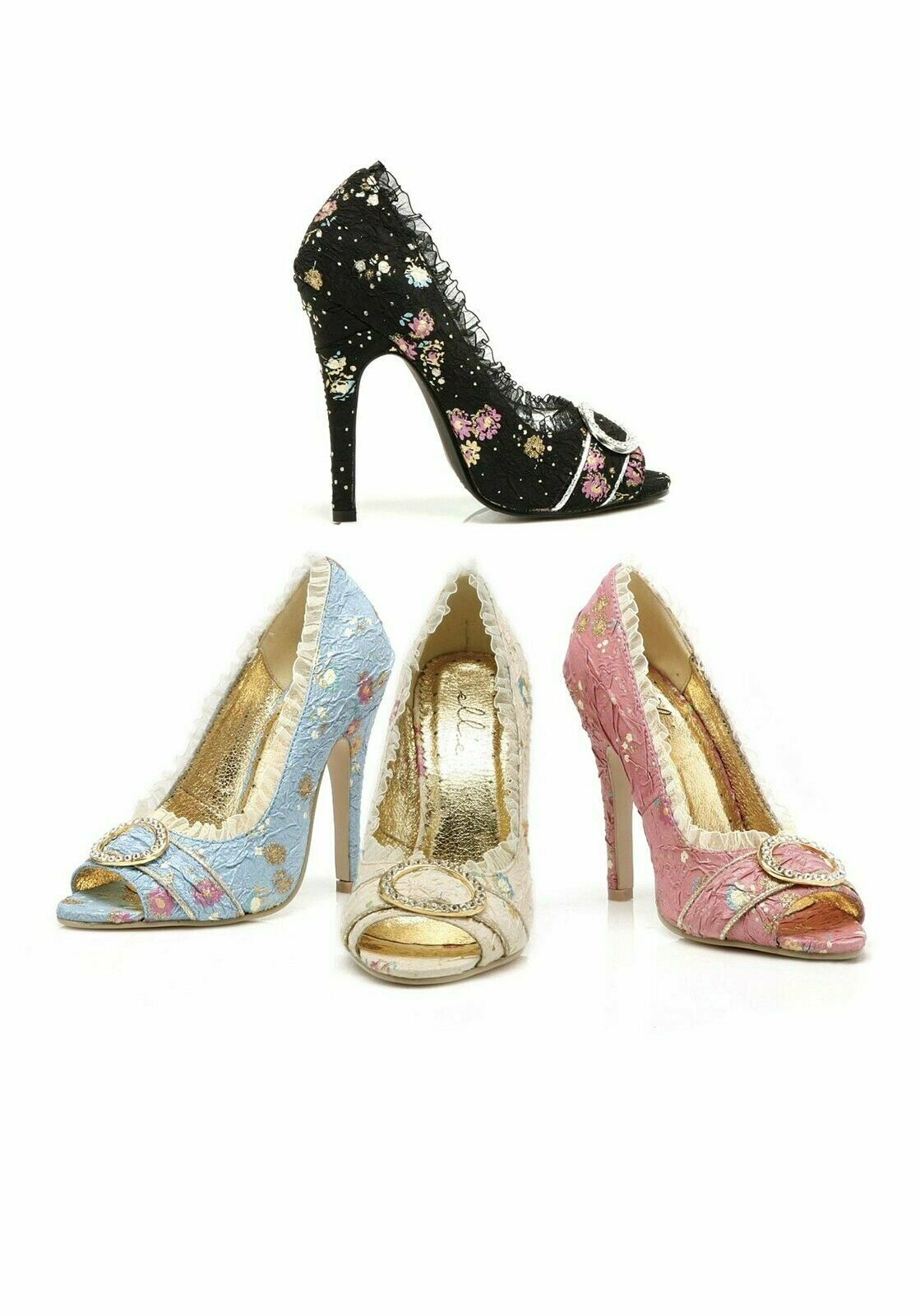 4.5/'/' Decorative Fabric Peep-Toe Women/'s Size Shoe W Rhinestones And Ruffle Trim