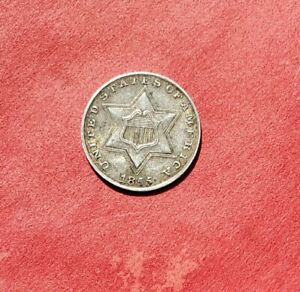 1855 Three Cent Silver Piece Trime High grade Uncleaned original!  3¢