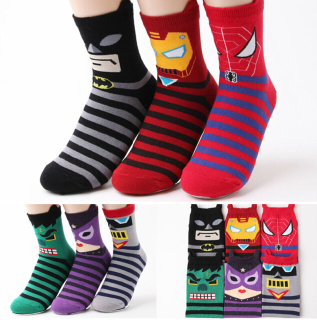 6 Pair Super Hero Women Girls Boy Socks 6 Color